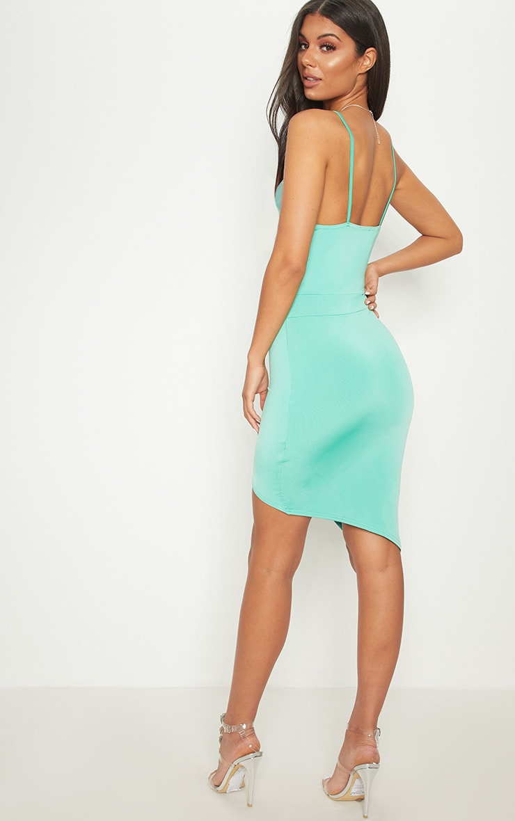 Turquoise Plunge Ruched Bodycon Dress 2