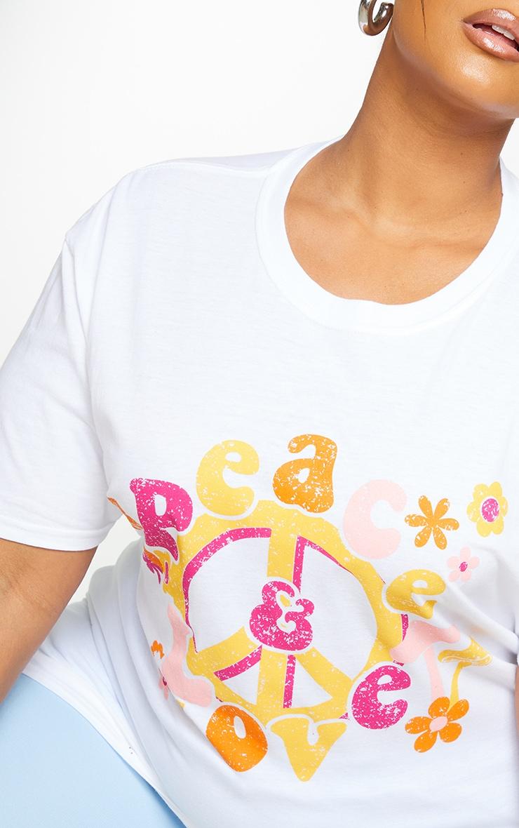Plus White Peace T Shirt 4
