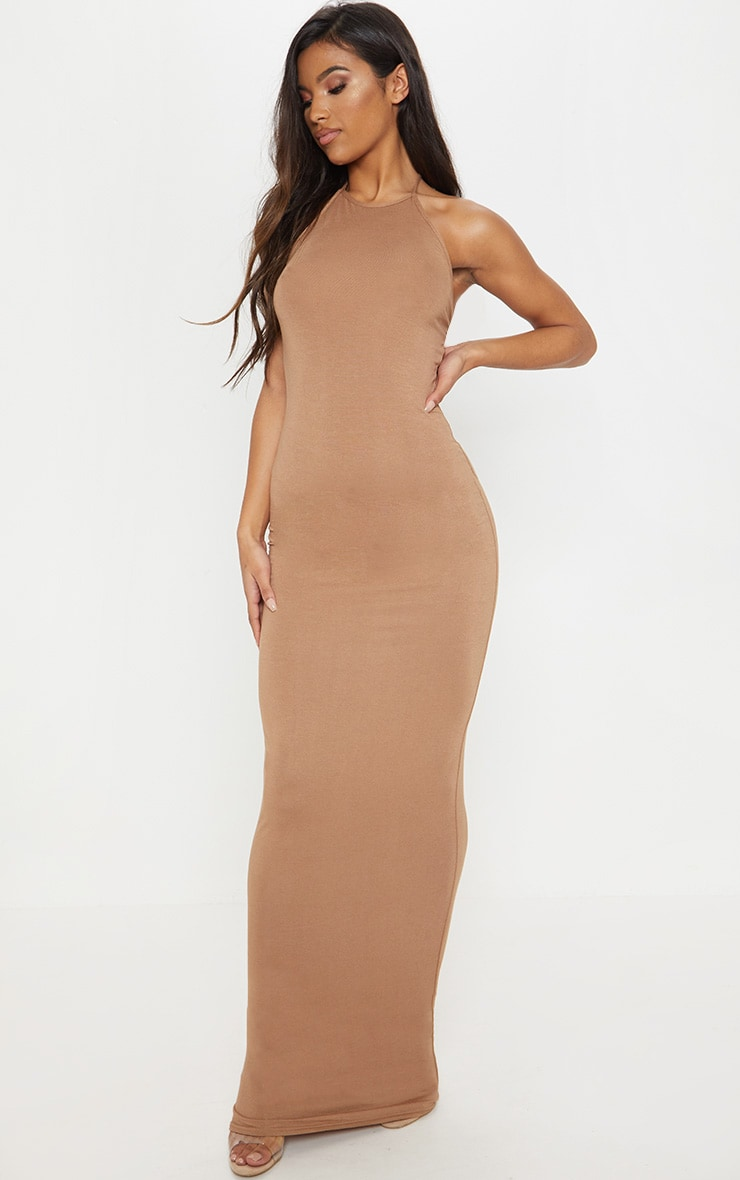 Camel Basic Halterneck Maxi Dress 1