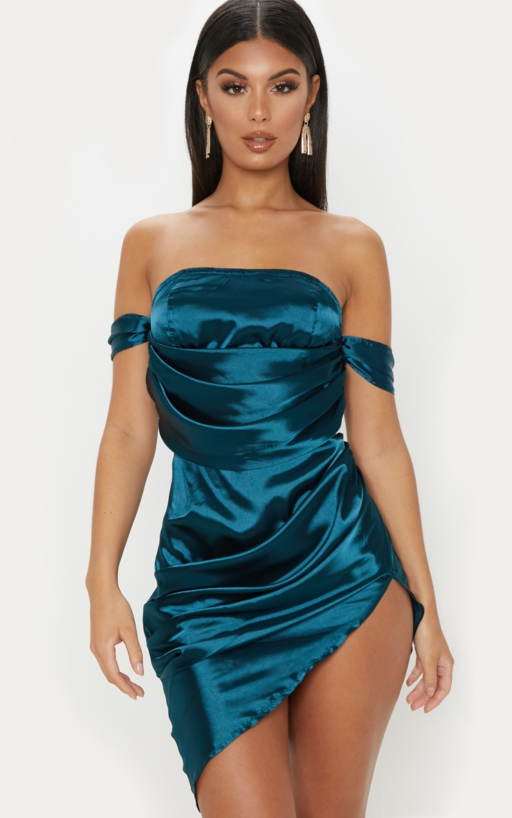 Teal Satin Bardot Drape Bodycon Dress 1