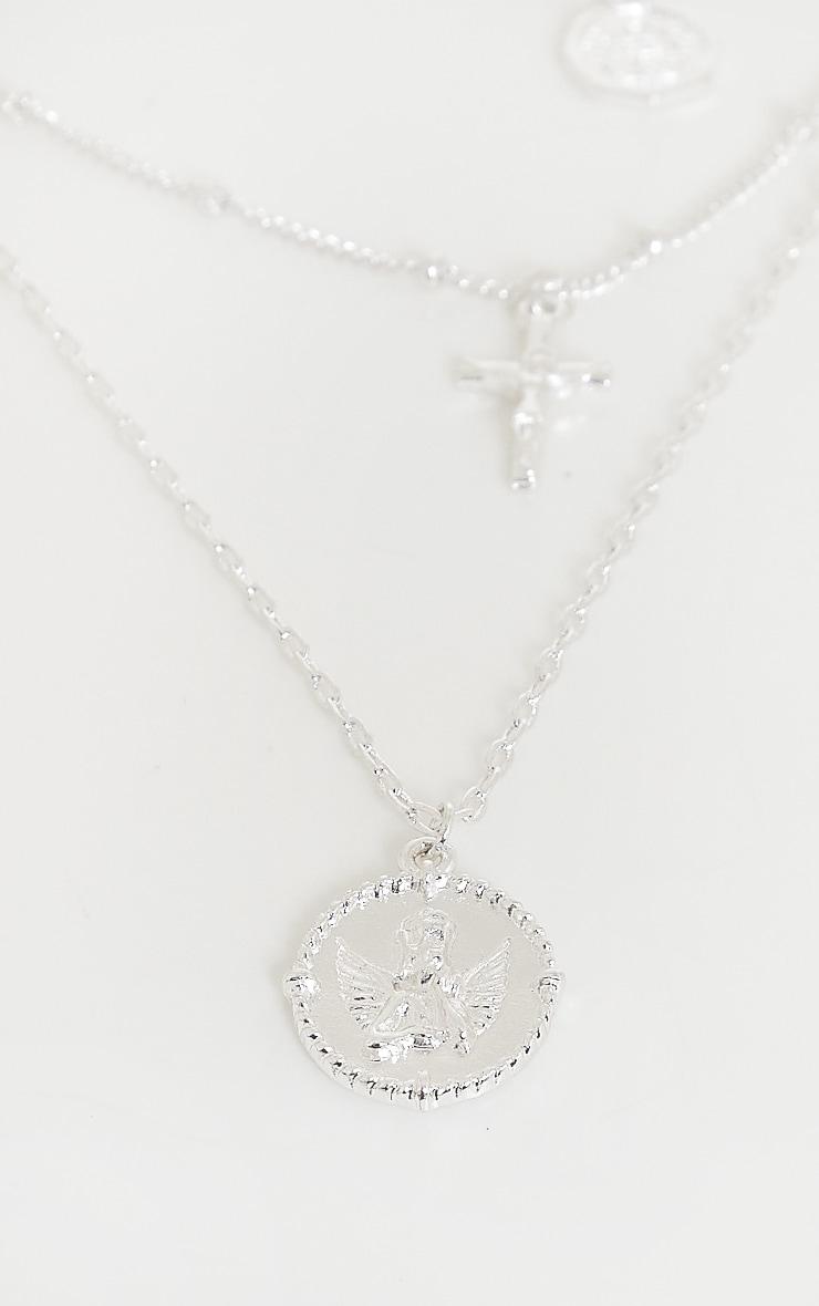 Silver Cross And Cherub Layering Necklace 4