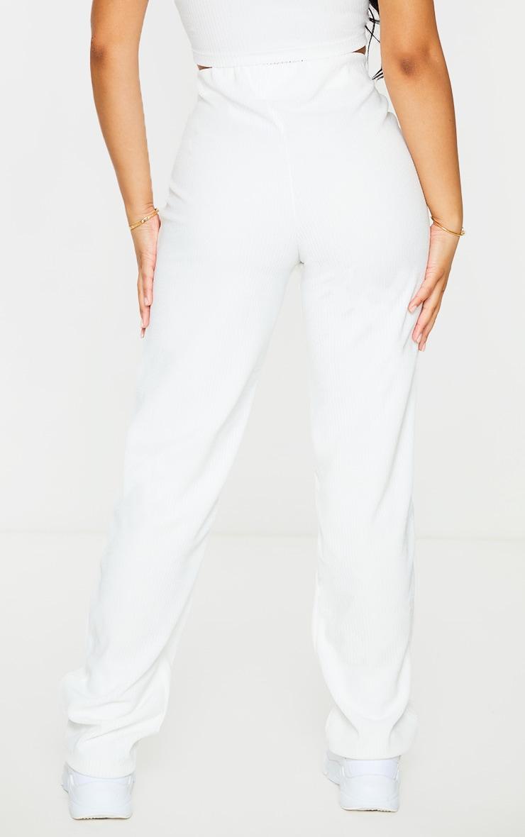 Petite Cream Towelling Rib High Waisted Flared Trousers 3