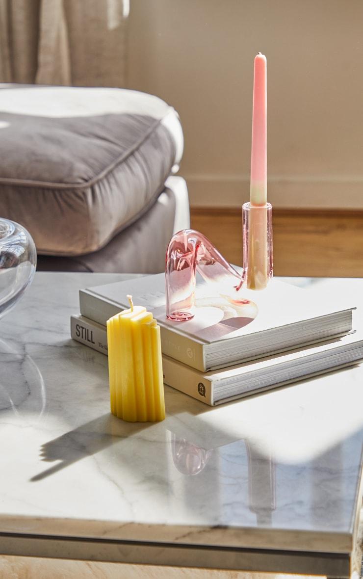 Pink Swirl Glass Candlestick Holder 1