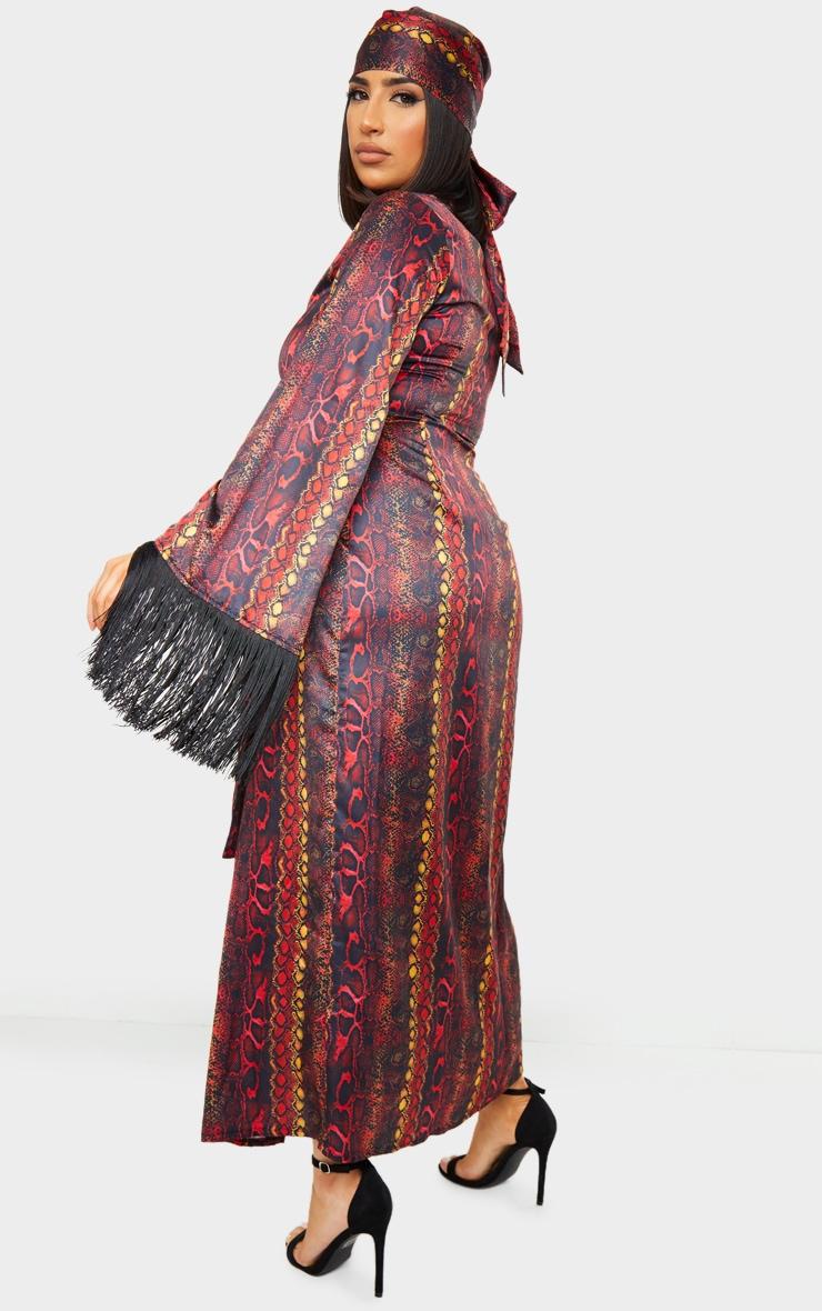 Multi Snake Printed Satin Fringe Kimono 2