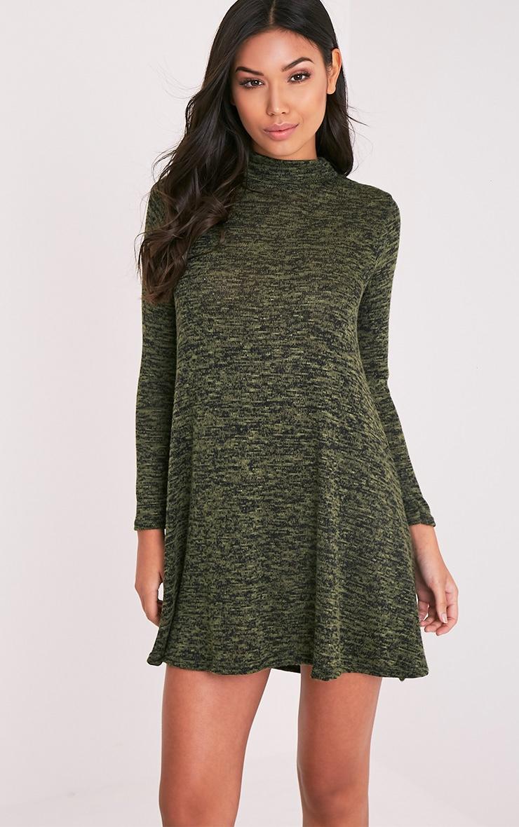 Annwyl robe trapèze manche longues à col montant kaki 1