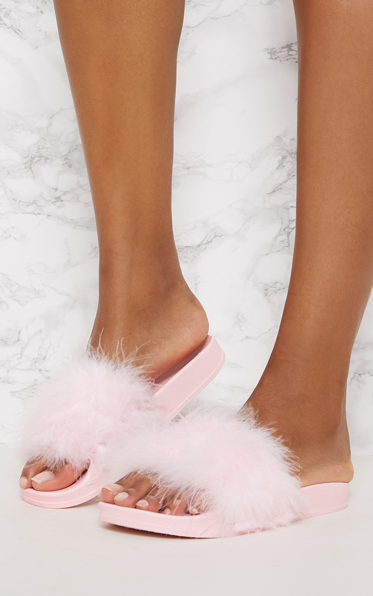 Pink Feather Slides 2