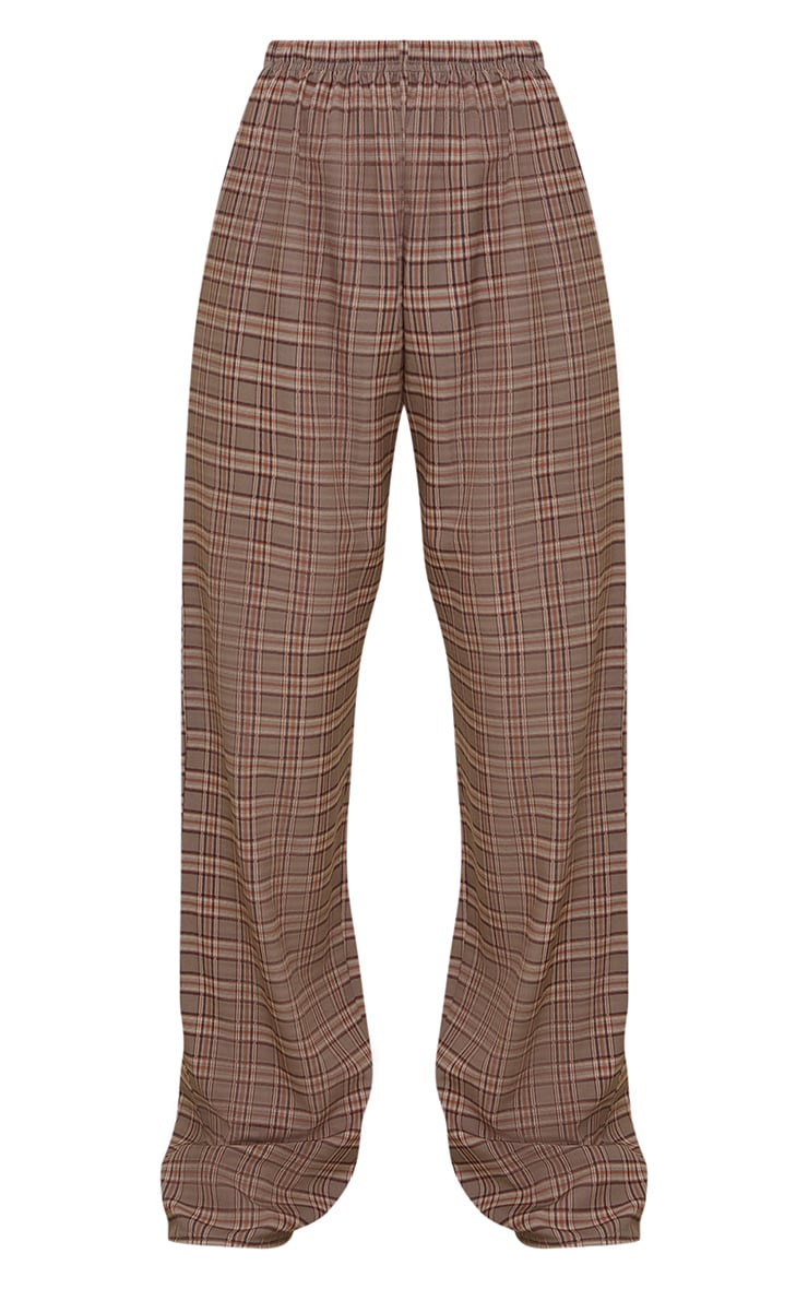Brown Classic Check Wide Leg Pants 5