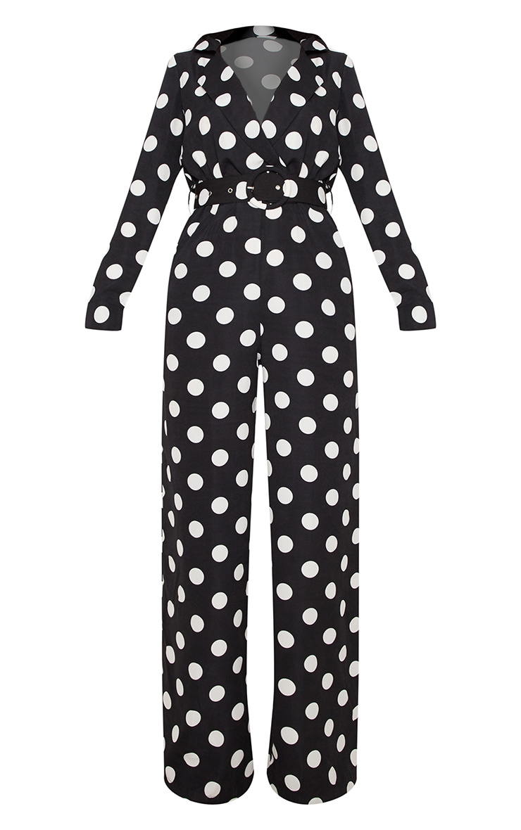 Monochrome Polka Dot Belt Detail Wide Leg Jumpsuit 3