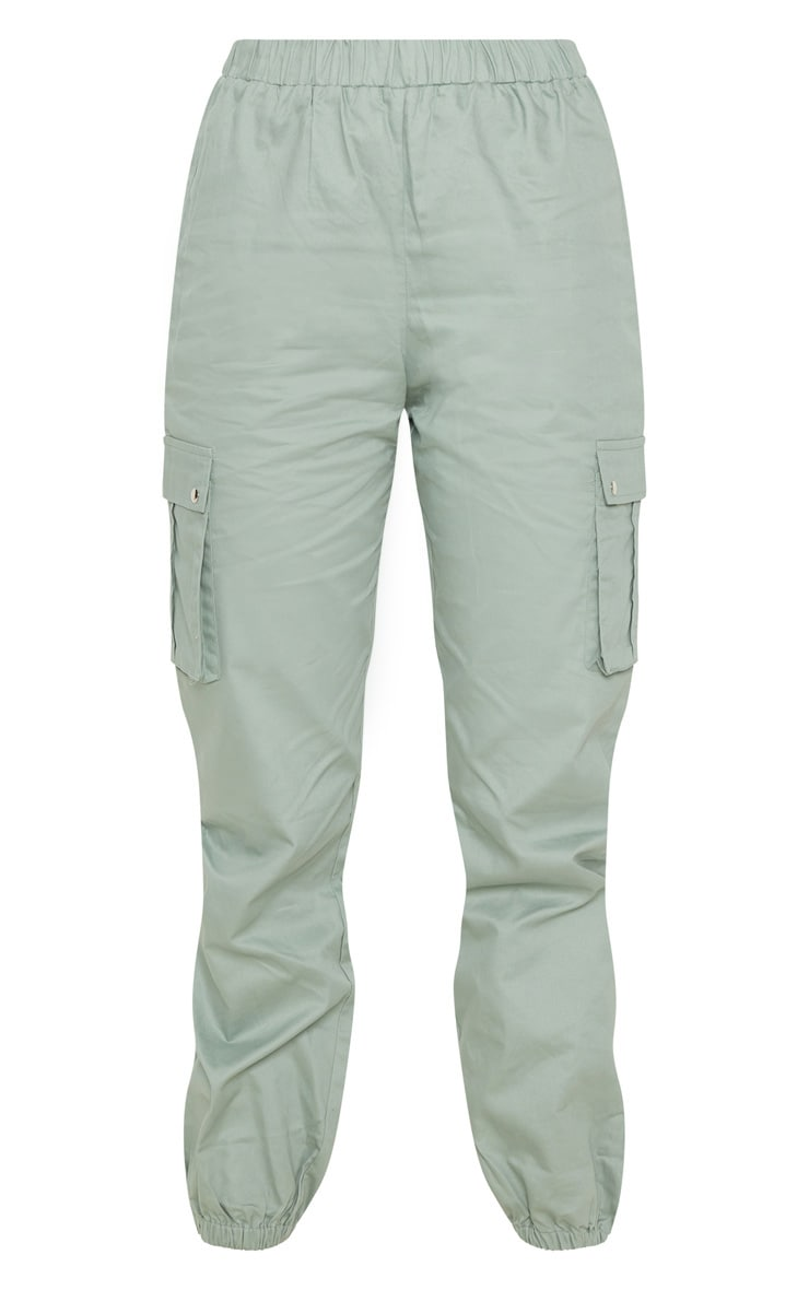 Sage Green Pocket Detail Cargo Trousers 4
