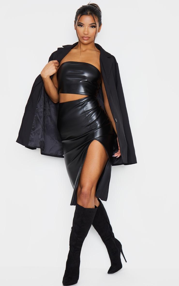 Black Oversized Boyfriend Fit Woven Blazer 5