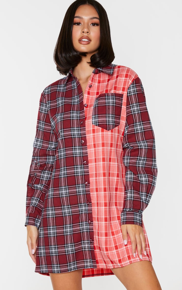 Red Two Tone Checked Shirt Dress 1
