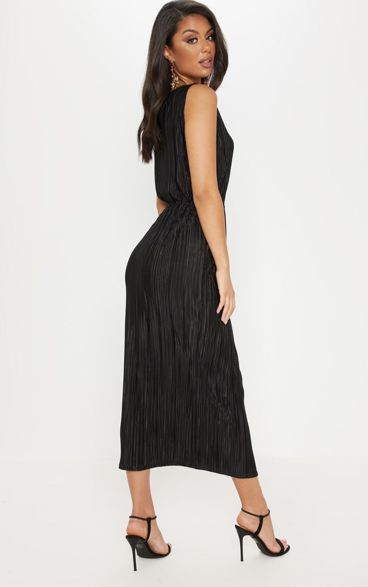 Black Plisse Slash Neck Split Detail Midi Dress 2