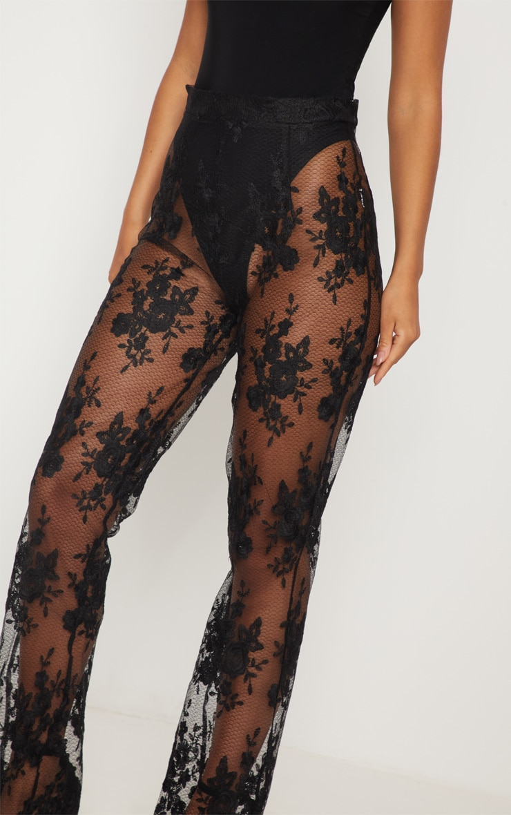 Black Occasion Sheer Lace Flare Leg Pants 5