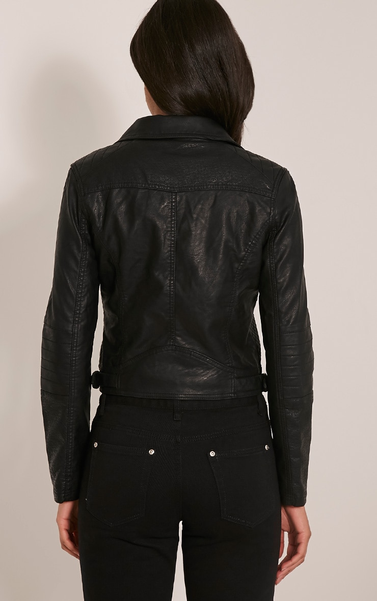 Annie Black PU Textured Biker Jacket 2