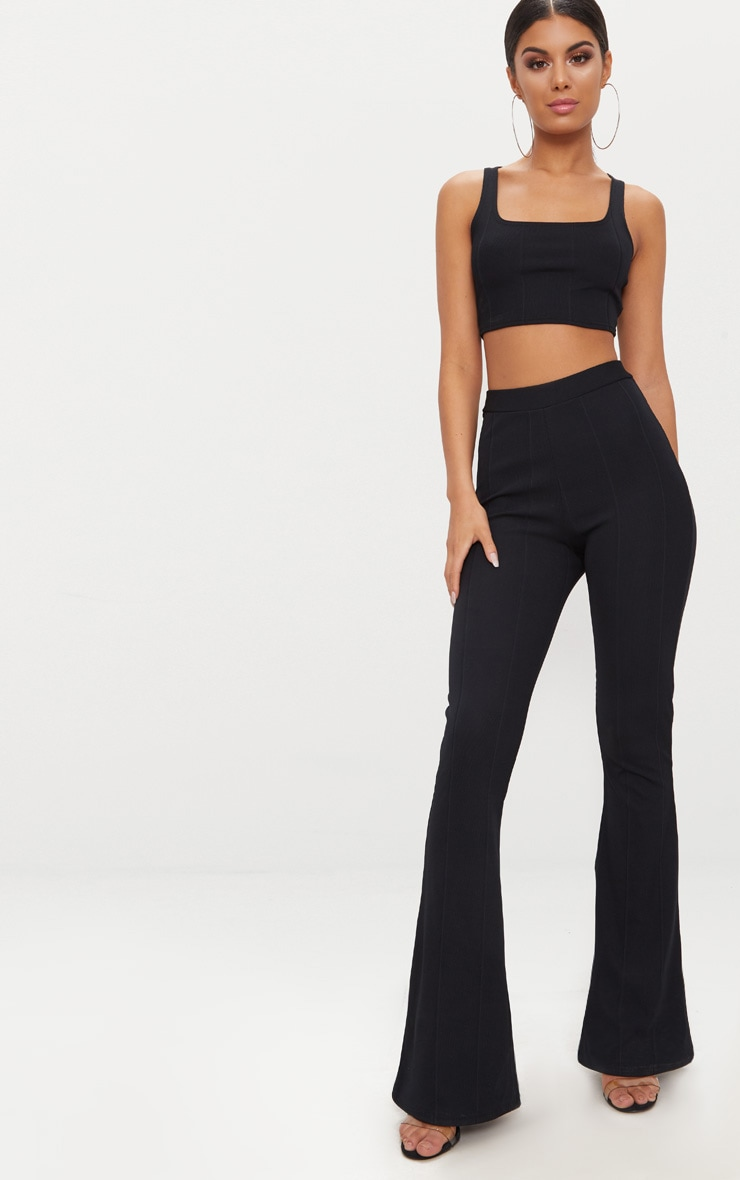 Black Bandage Flared Trouser