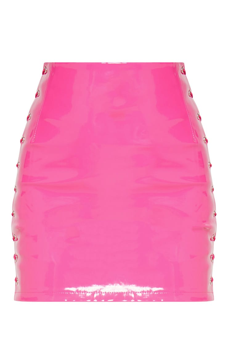 Hot Pink Vinyl Lace Up Side Mini Skirt 3