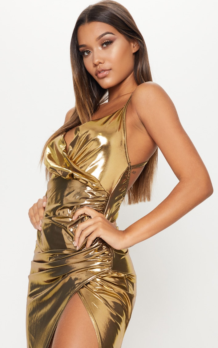 Gold Metallic Ruched Back Extreme Split Maxi Dress 5