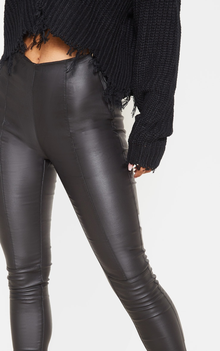Black Zip Side Coated Jeans  5