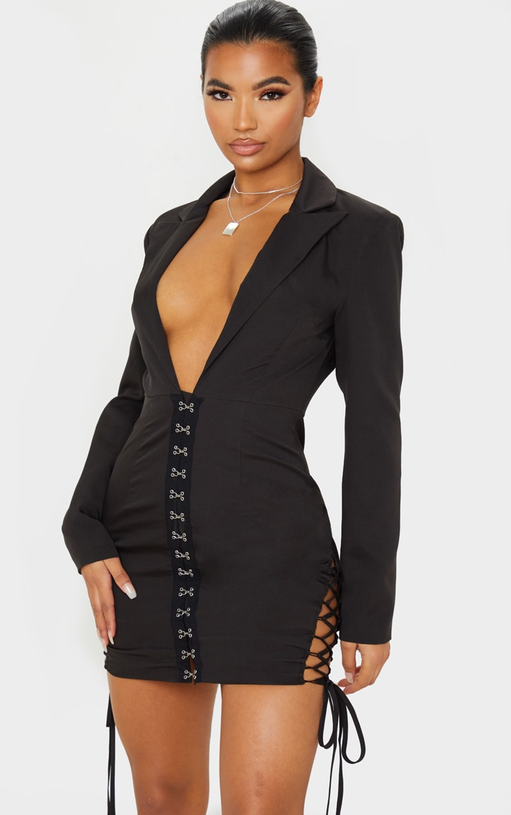 Black Hook And Eye Lace Up Detail Long Sleeve Blazer Dress 1