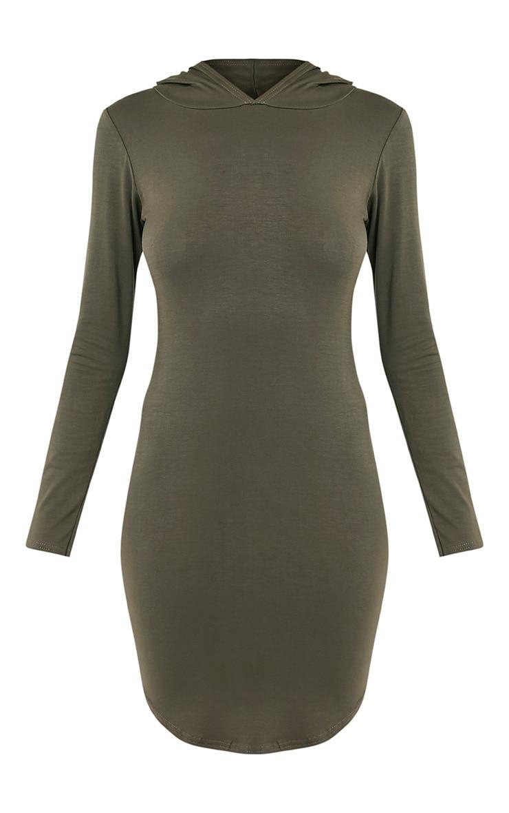Daysie Khaki Curved Hem Hooded Bodycon Dress 3