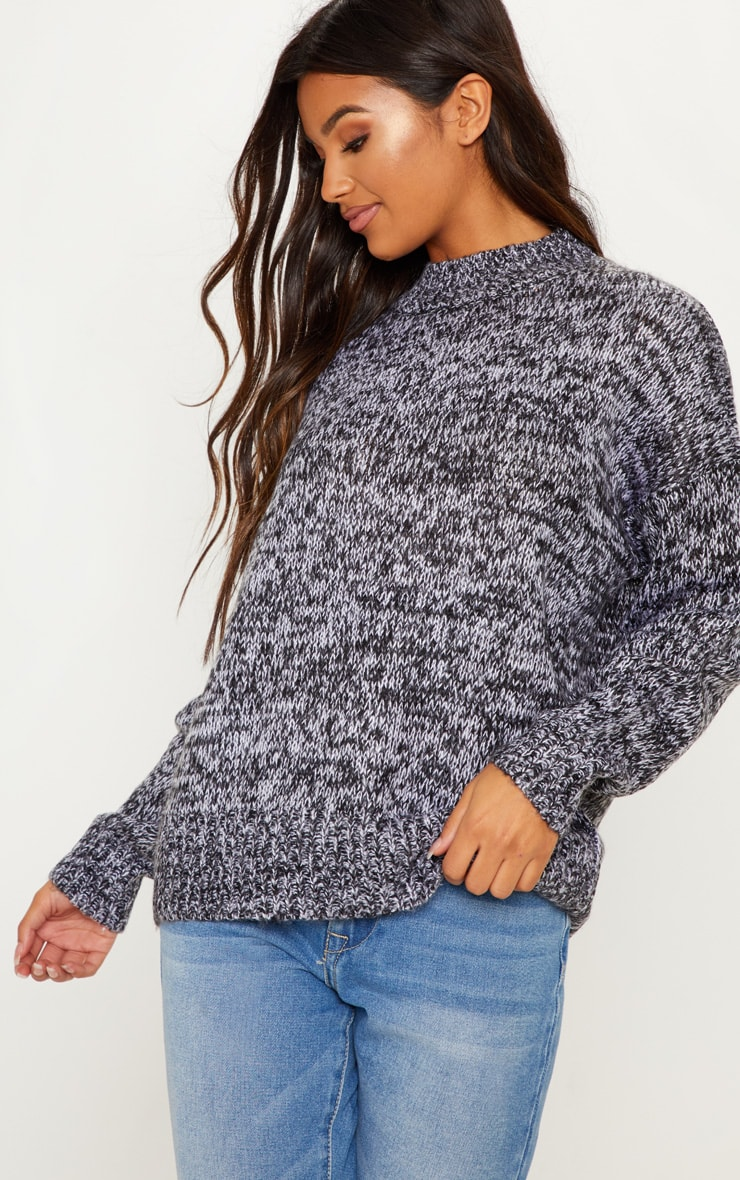Grey Marl Knitted Jumper with Roll Neck