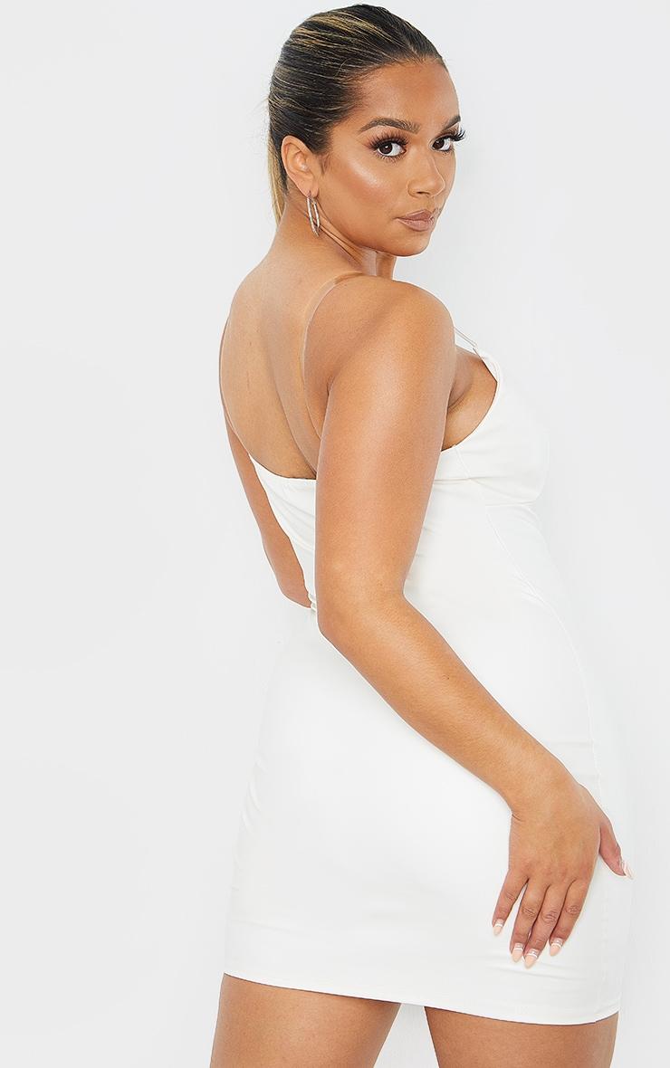 Shape White PU Clear Strap Cup Detail Bodycon Dress 2
