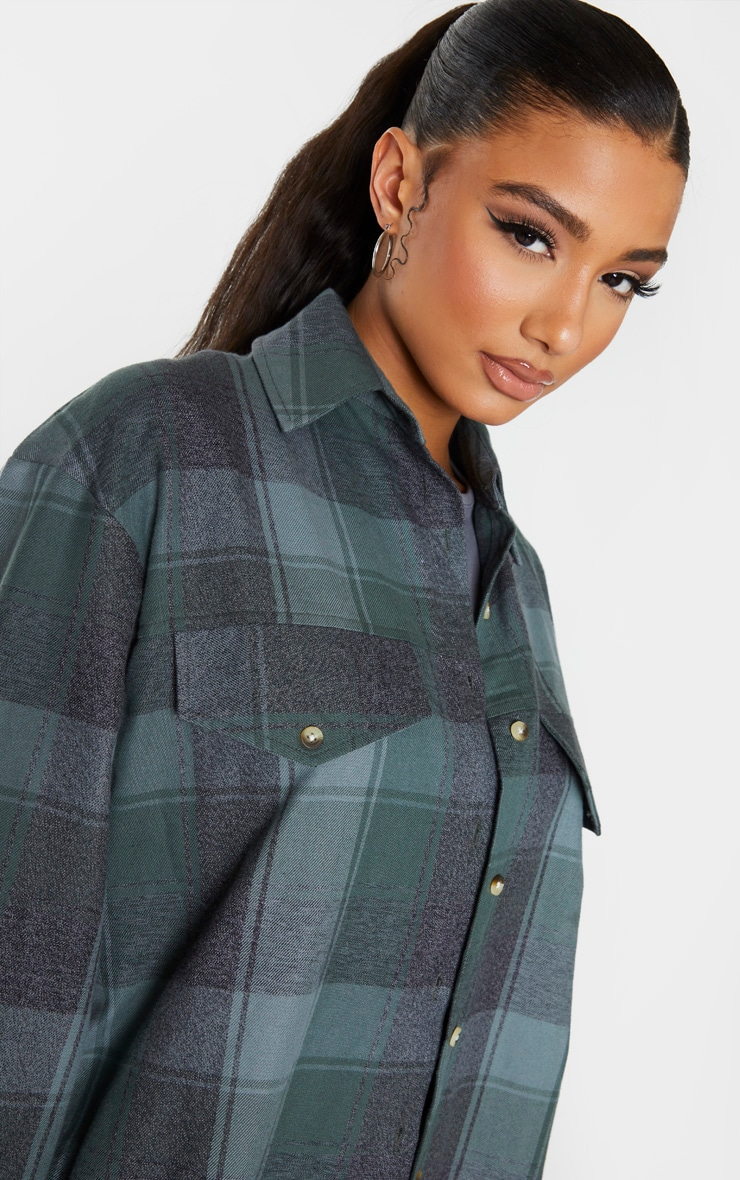 Sage Khaki Check Oversized Long Sleeve Dad Shirt 4