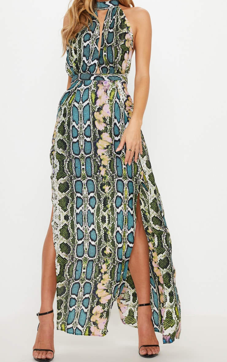 Green Snake Print Maxi Dress 5