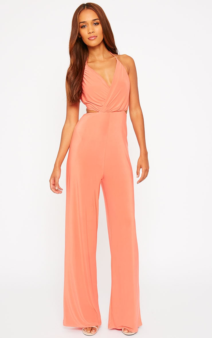 Tullia Orange Slinky Cross Front Wide Leg Jumpsuit 1