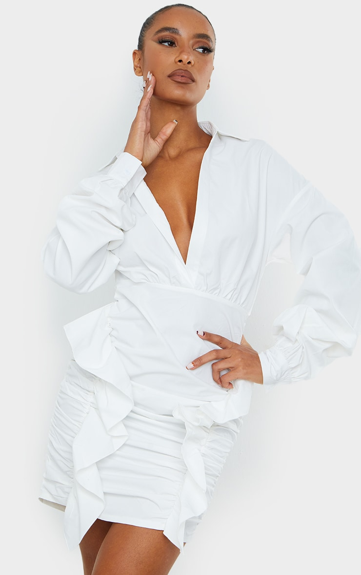 White Plunge Ruched Skirt Long Sleeve Shirt Dress 1