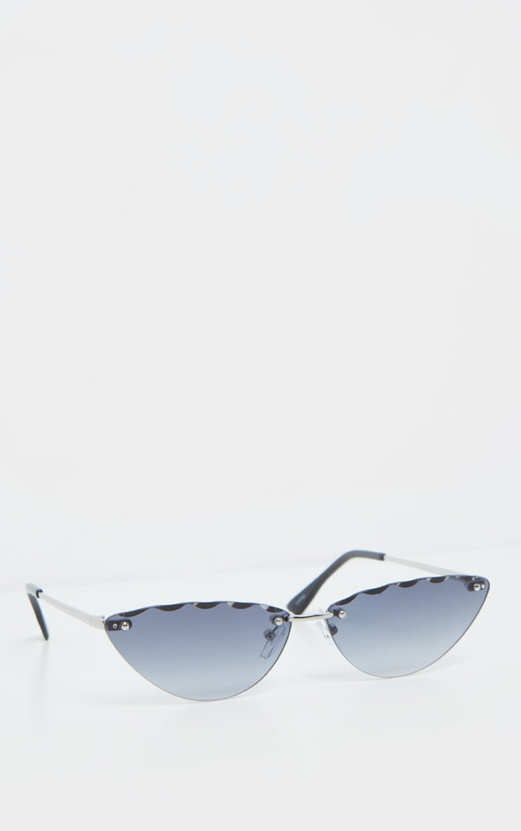 Grey Faceted Edge Cat Eye Sunglasses 2