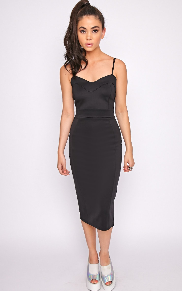Traci Black Bodycon Midi Dress 3