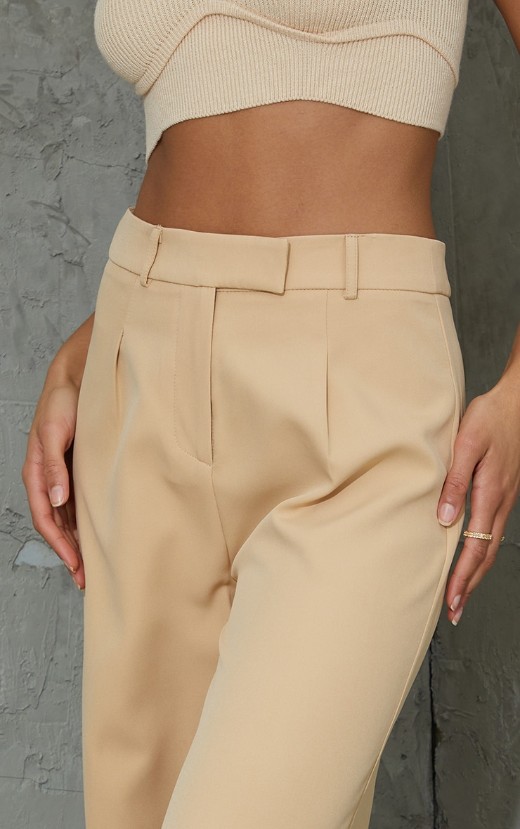 Stone Woven Tailored Wide Leg Trousers 4
