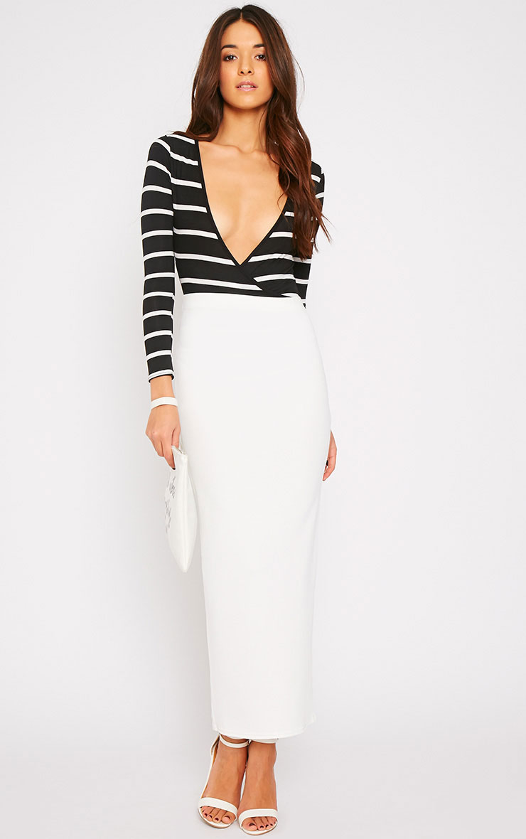 Tessa Black Stripe Wrap Over Plunge Bodysuit  5