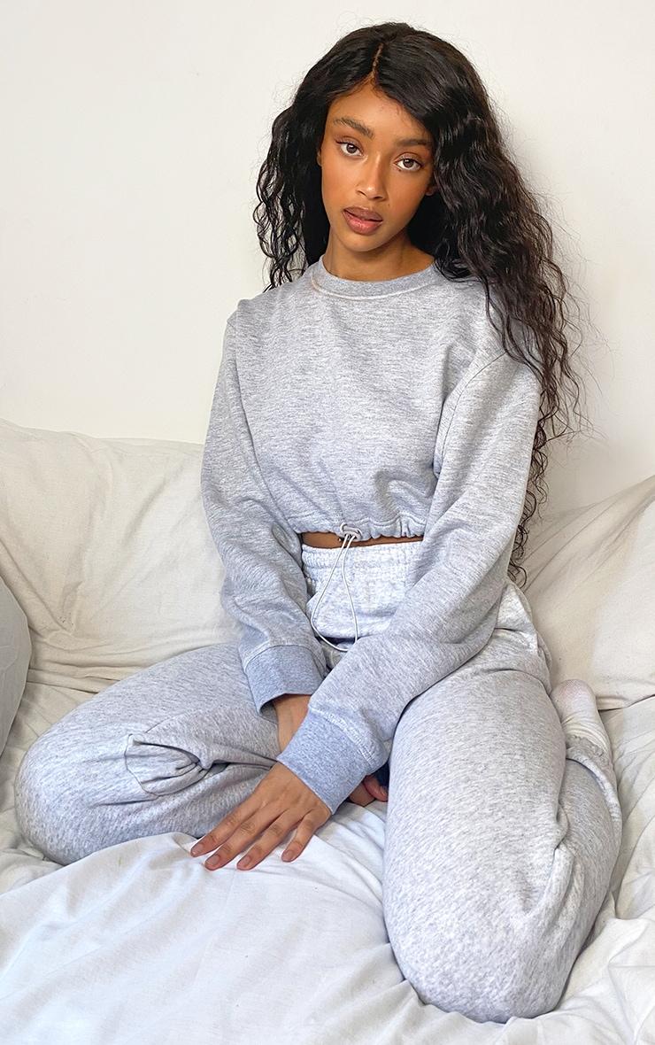 Grey Toggle Cropped Long Sleeve Sweatshirt 3