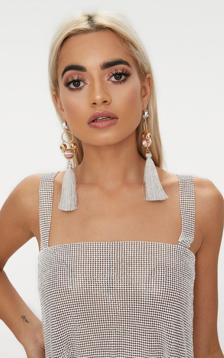 Rose Gold Tassel Drop Earrings 1