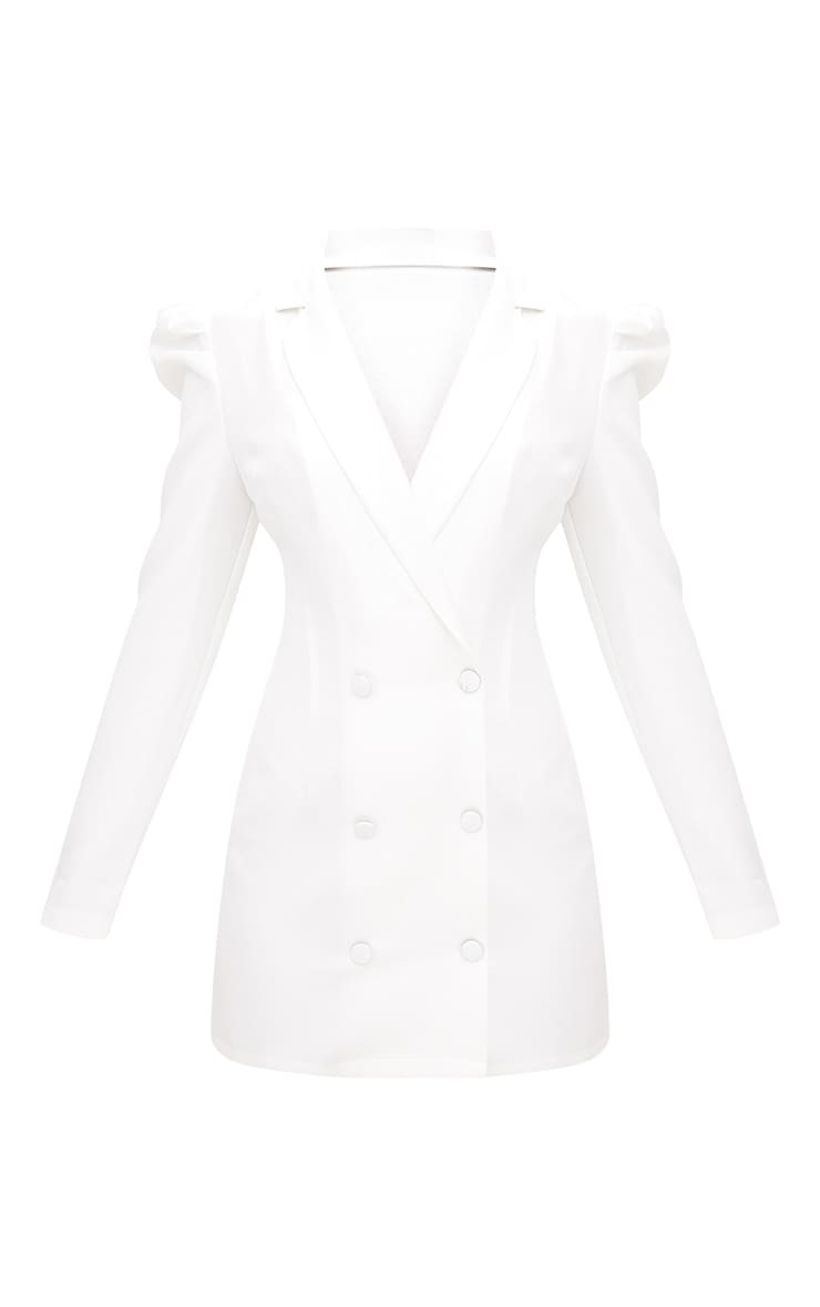 White Puff Sleeve Button Up Blazer Dress 3