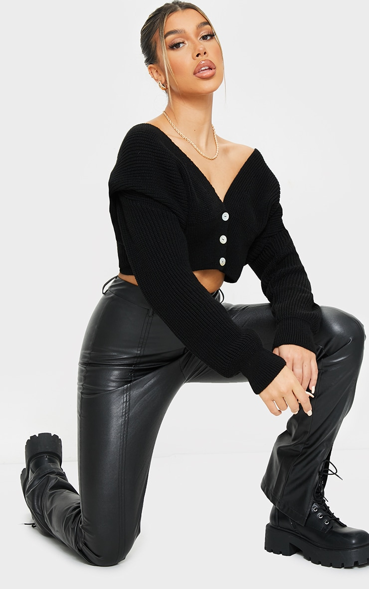 Gilet court en maille tricot noir à épaulettes 3