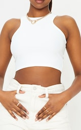 White Stretch Slinky Racer Crop Top 4