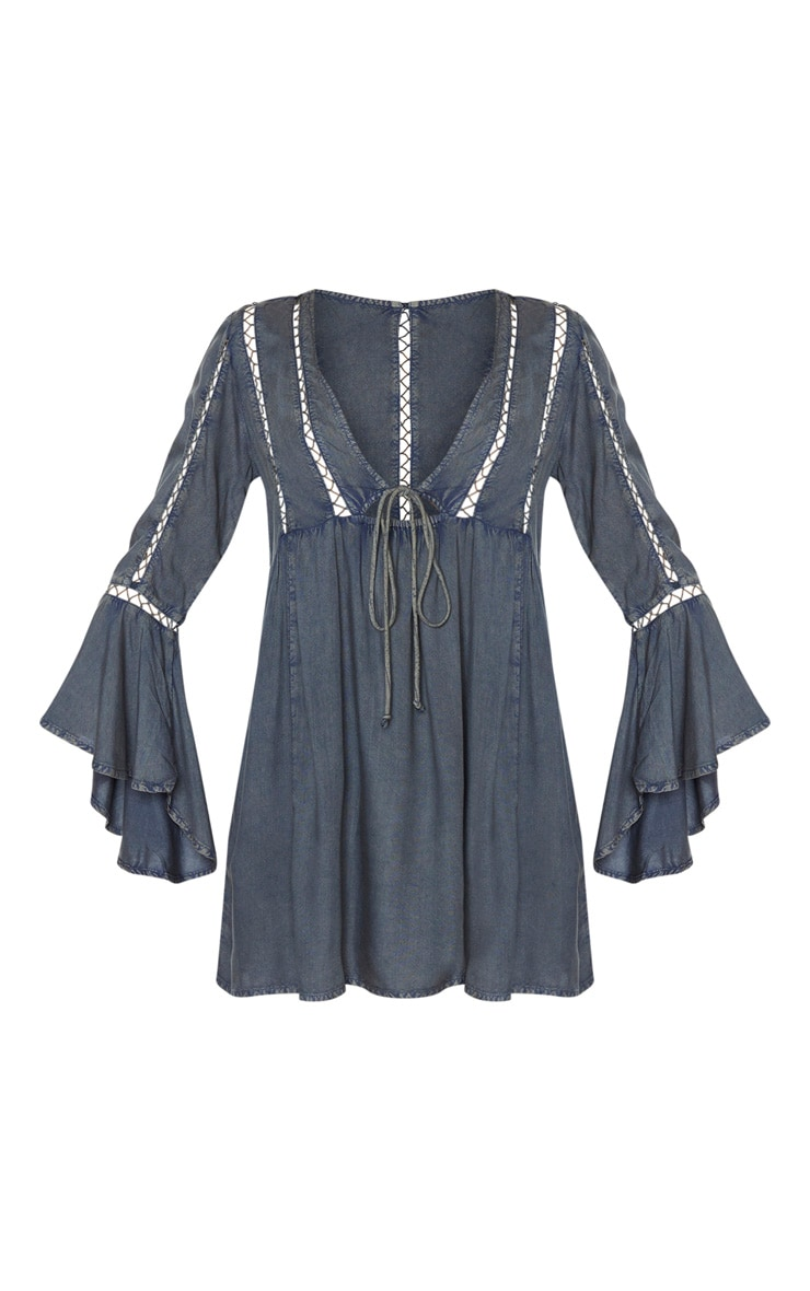 Washed Black Tie Front Frill Sleeve Beach Dress 6
