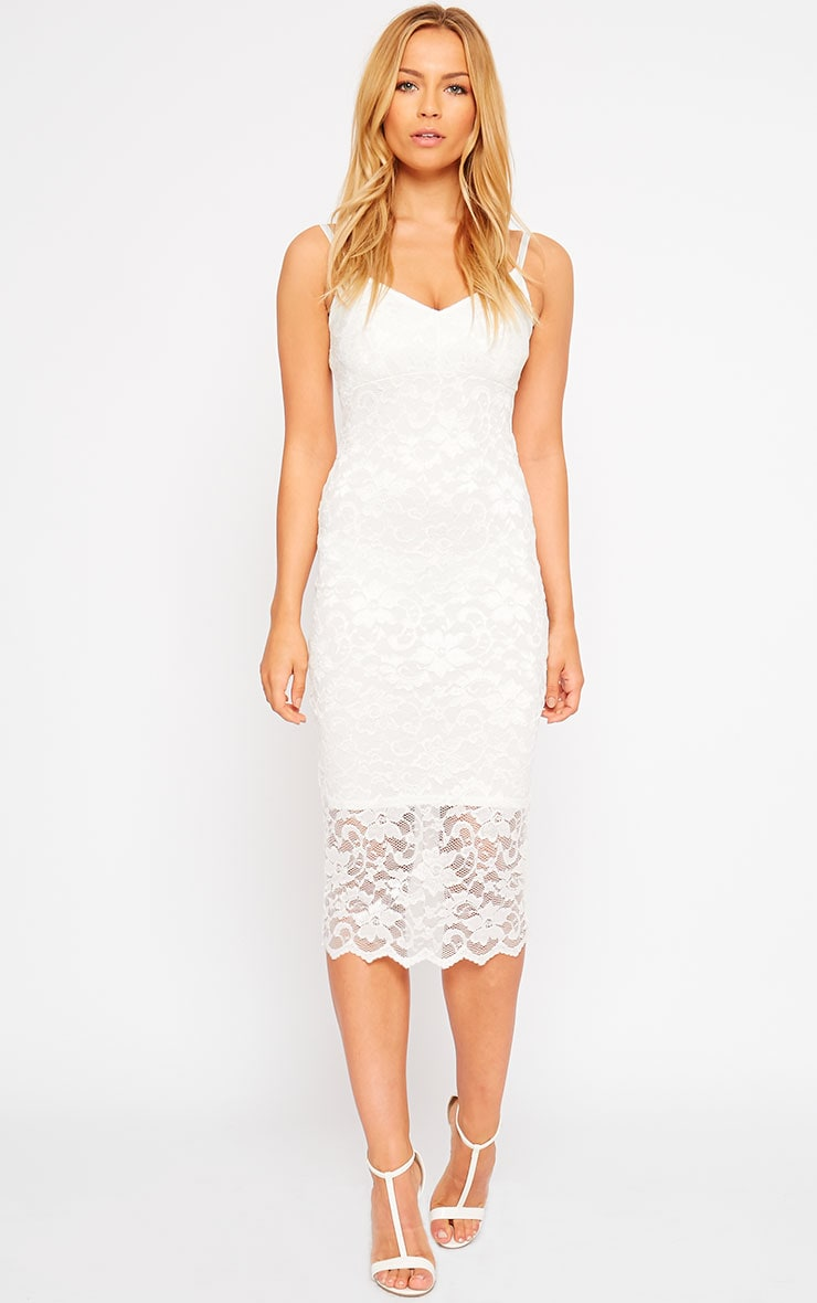 Adley White Lace Midi Dress 3