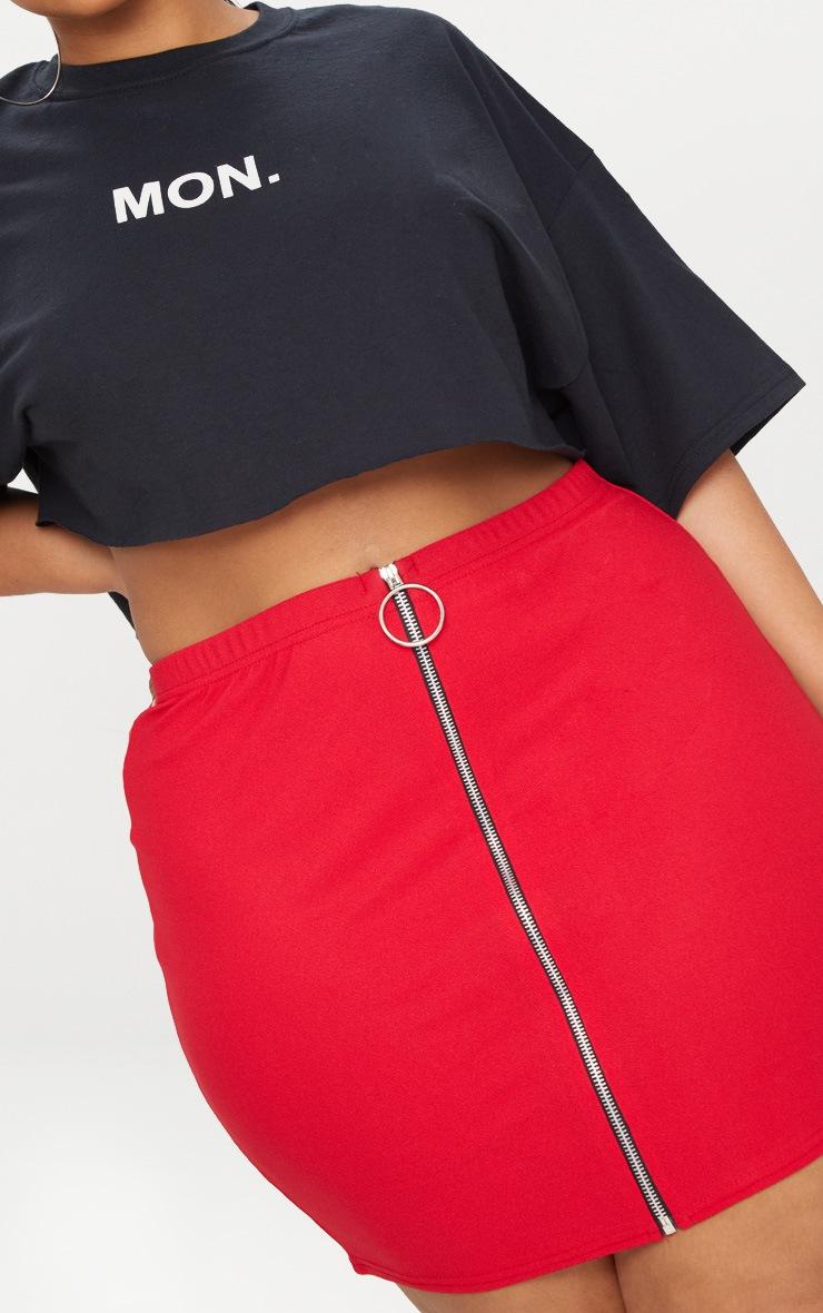 Plus Red Ring Pull Detail Mini Skirt 5