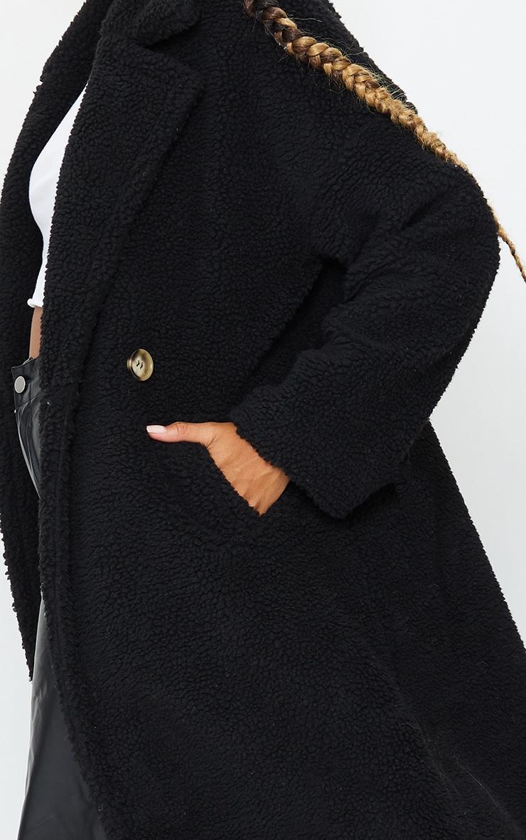 Black Borg Lapel Drop Arm Maxi Coat 4