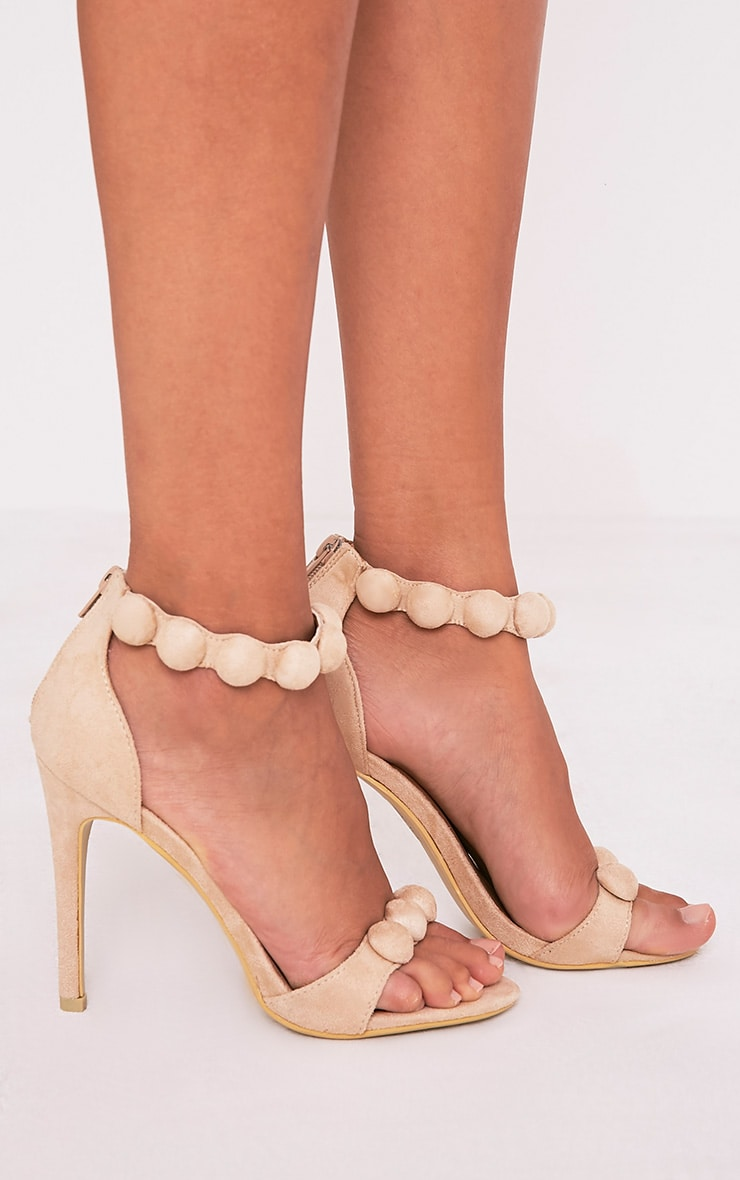 Una Cream Suede Studded Strappy Heeled Sandal 2