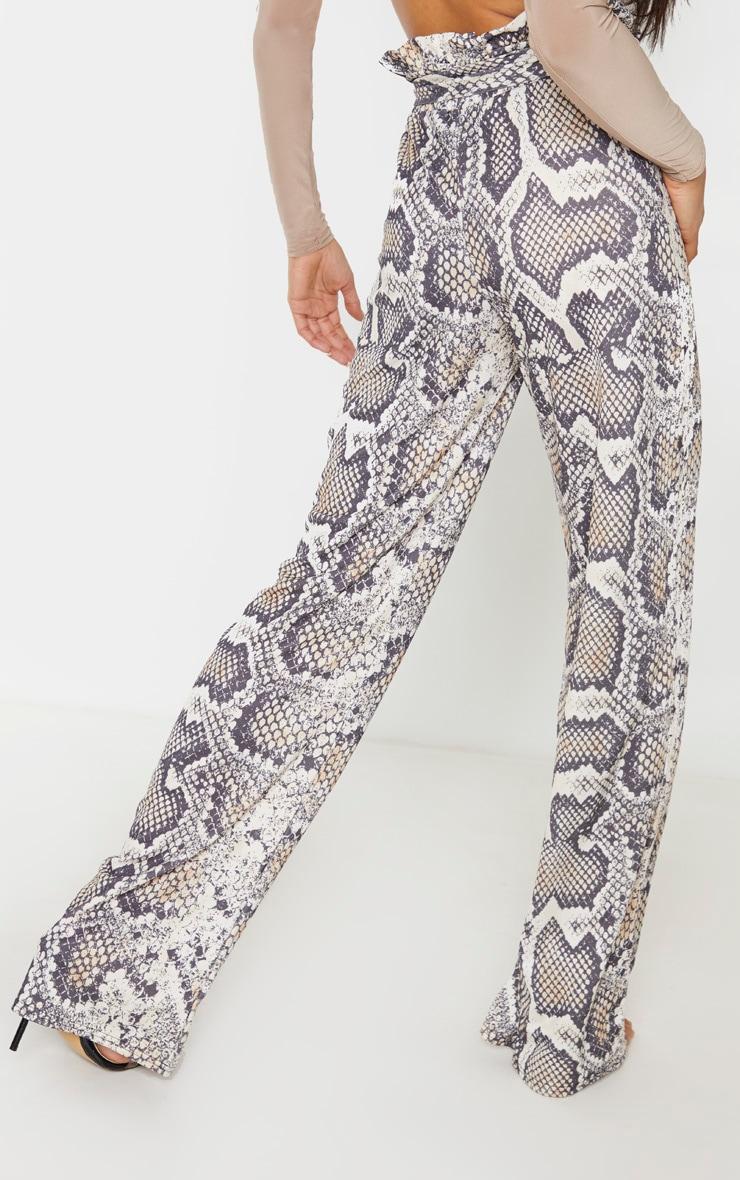 Snake Paperbag Waist Wide Leg Trousers 4