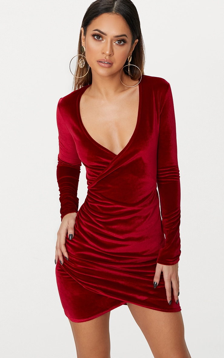Burgundy Wrap Plunge Ruched Detail Bodycon Dress  1