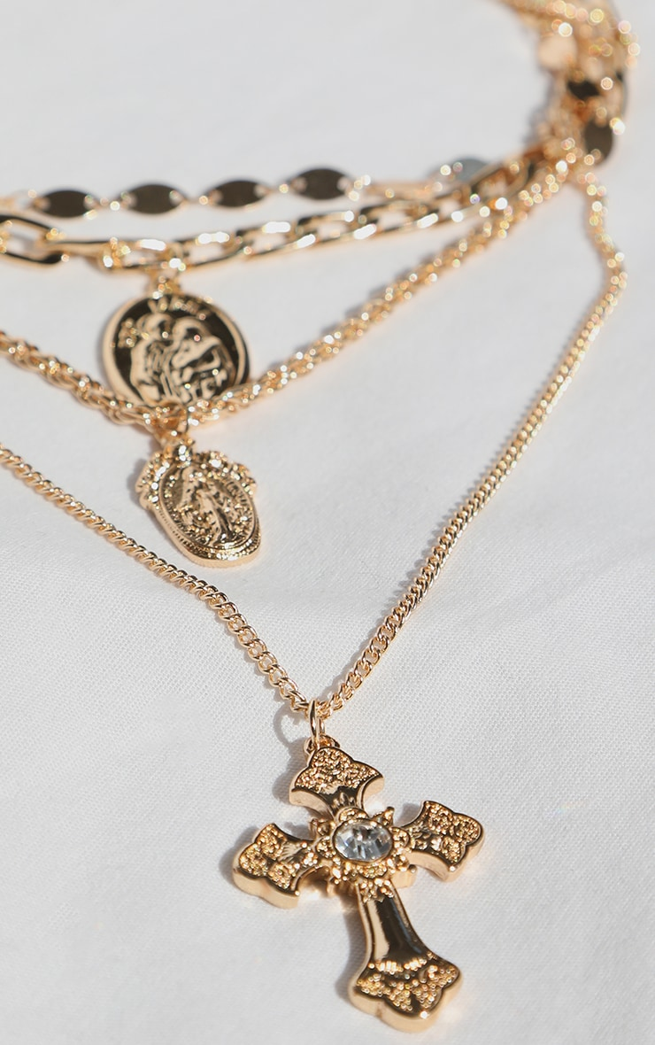Gold Multi Chain Cross Necklace 3