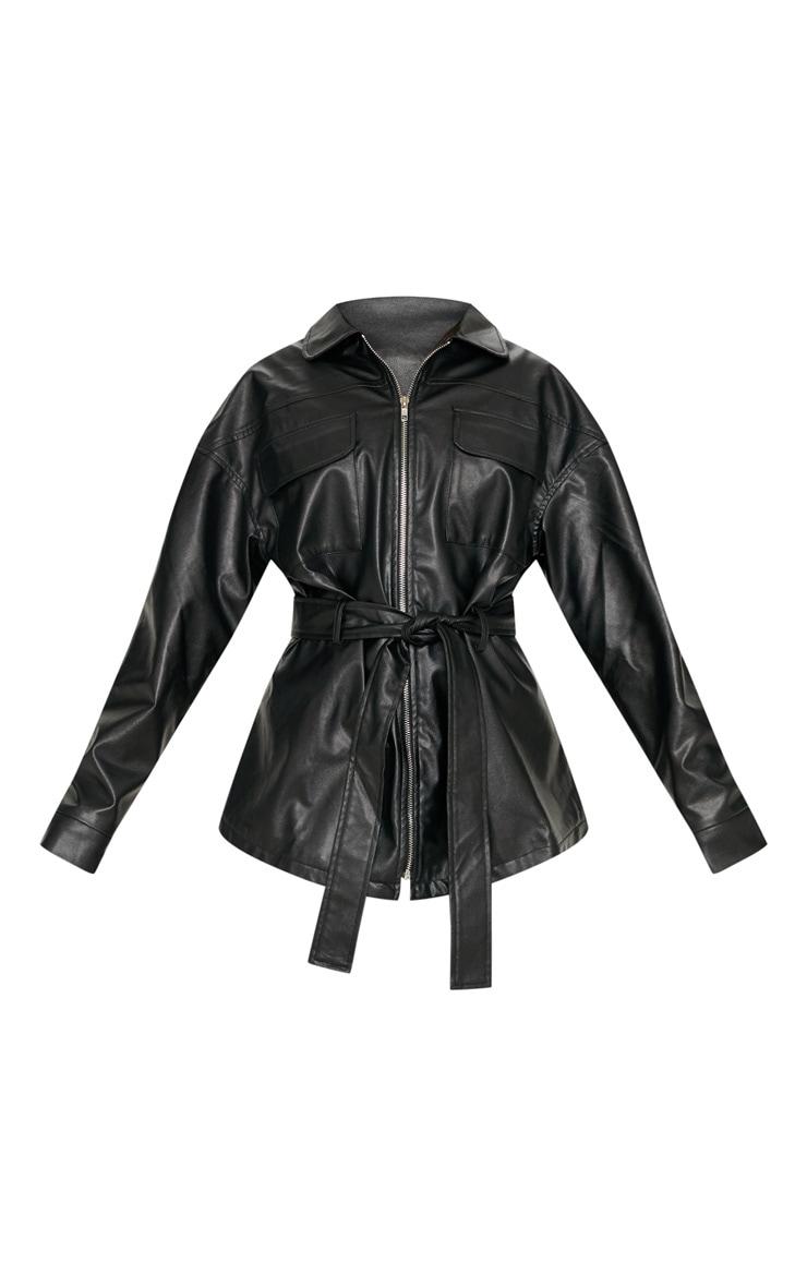 Petite Black Faux Leather Belt Detail Jacket image 3