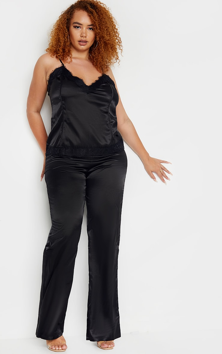 Plus Black Satin Wide Leg Fit Pants  1