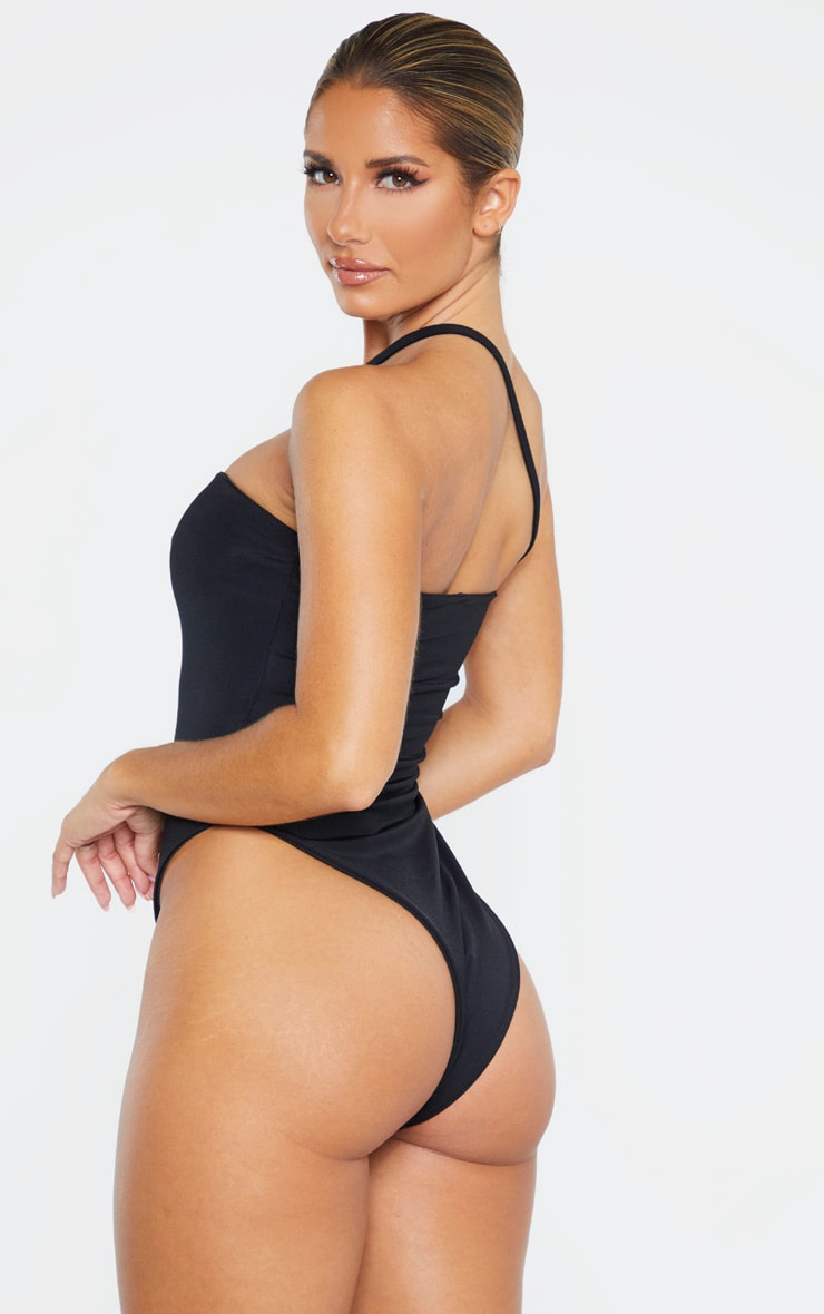 Black Asymmetric Strap Swimsuit 2